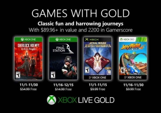 Programme Xbox Live Games With Gold de novembre 2019