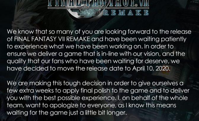 FF VII Remake reporté