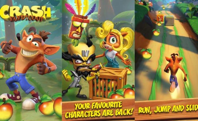 Crash Bandicoot mobile écrans de jeu