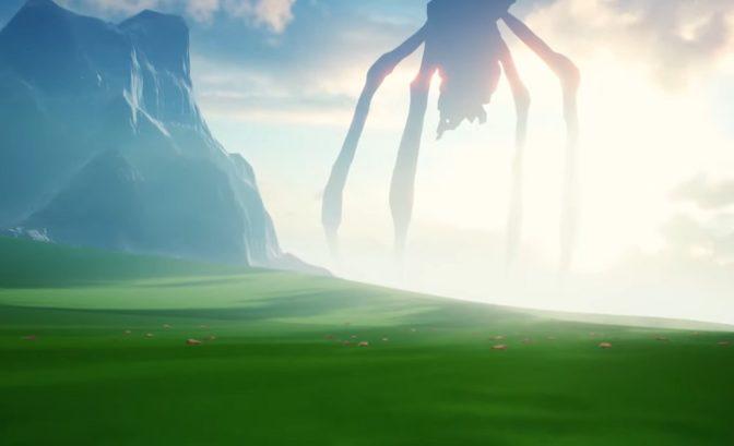 Une silhouette gigantesque avance dans l'horizon.