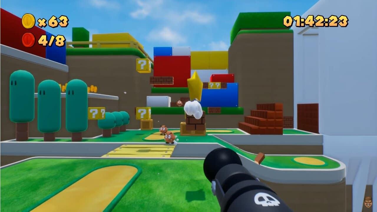 Premier niveau de Super Mario Bros en vue subjective