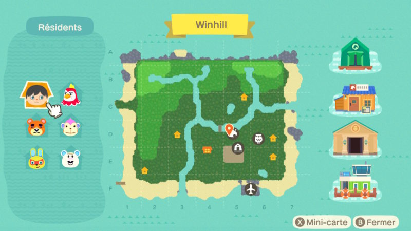 Animal Crossing: New Horizons - carte de l'île