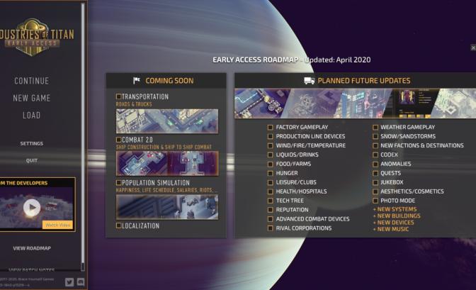 Industries of Titan roadmap