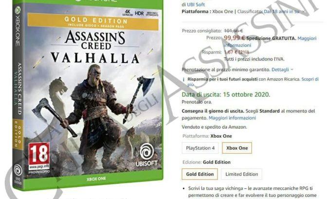 Assassin's Creed Valhalla amazon italien