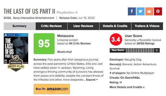 Fiche jeu The Last of Us Part 2 sur Metacritic