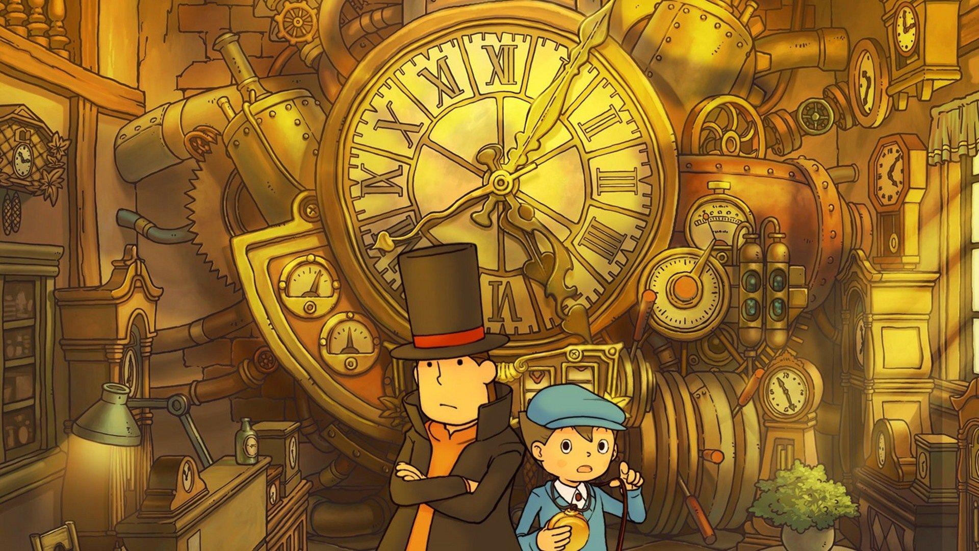 Professeur Layton et le Destin Perdu - layton et Luke face à la machine à voyager dans le temps