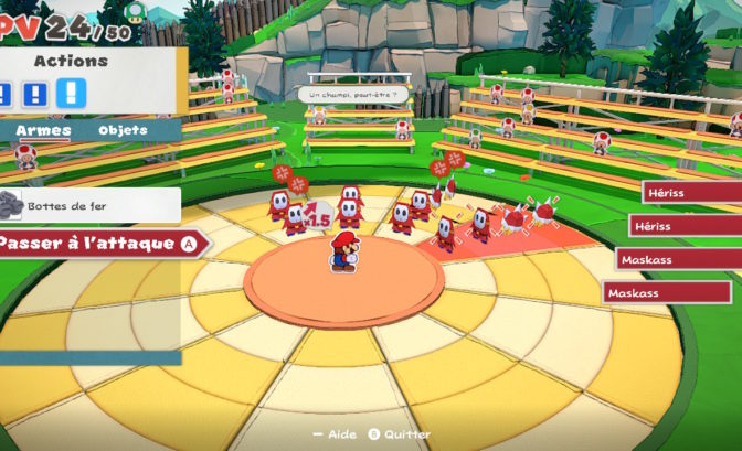 Paper Mario: The Origami King - Scène de combat
