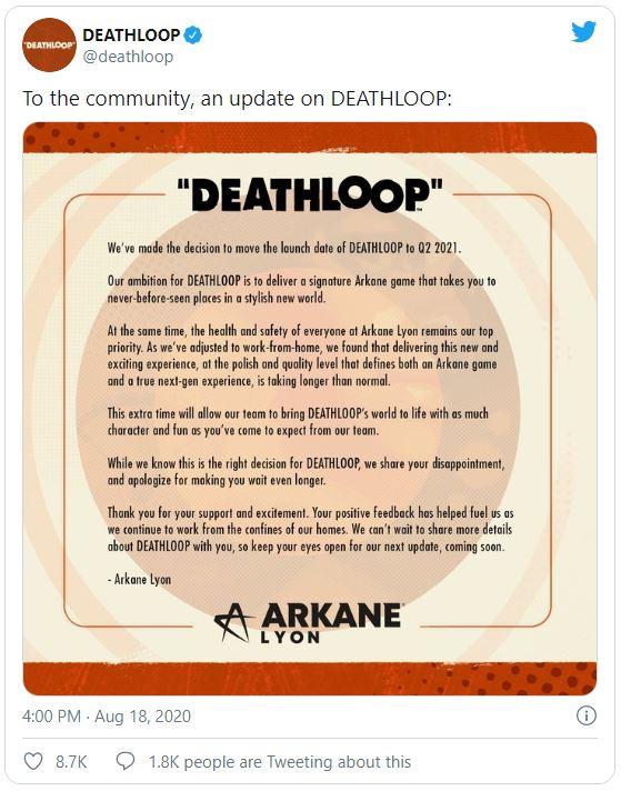Deathloop Tweet Report