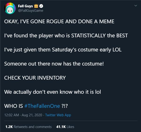 Fall Guys à la recherche du meilleur joueurs sur Twitter