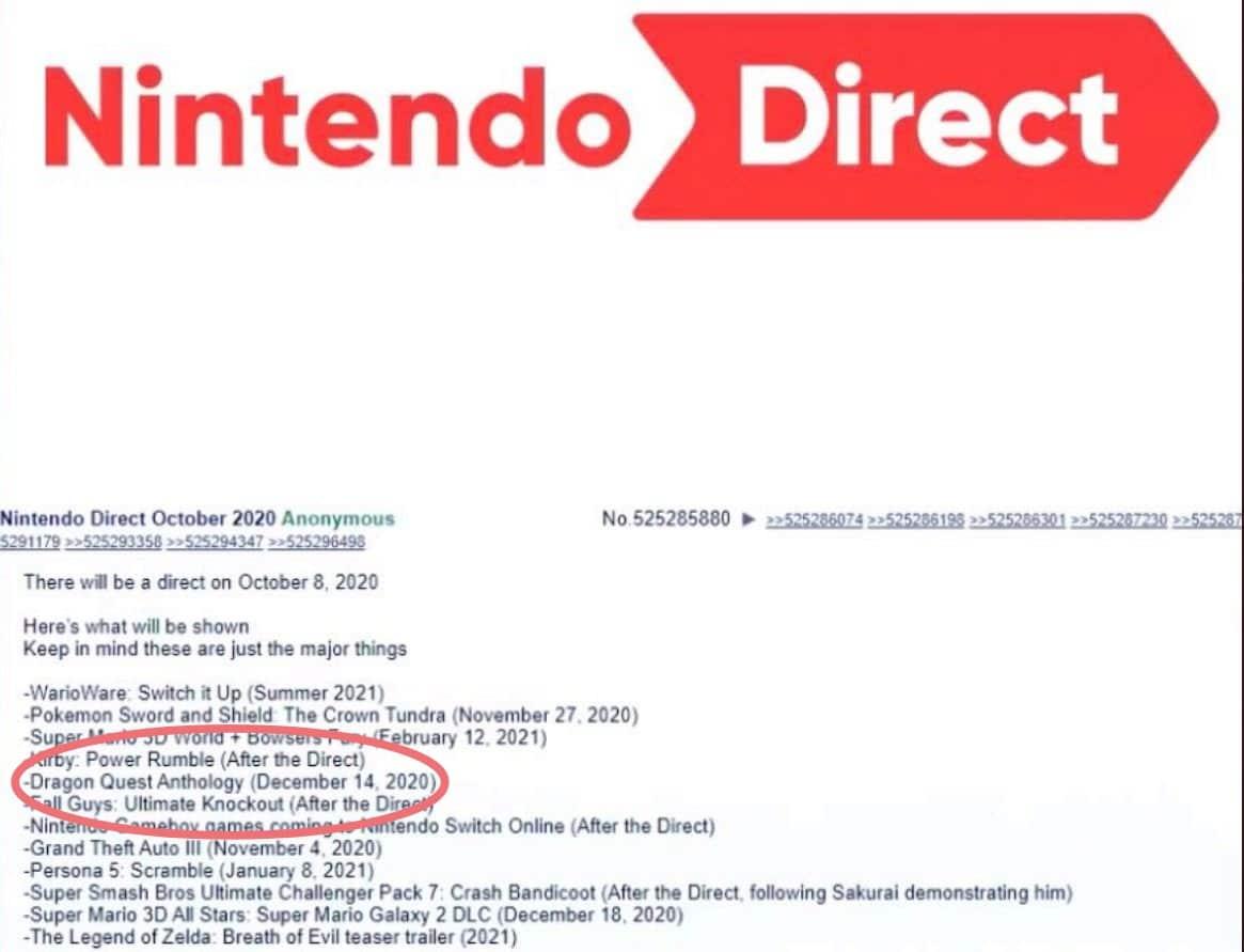 Nintendo Direct - Liste rumeur Direct Octobre 2020