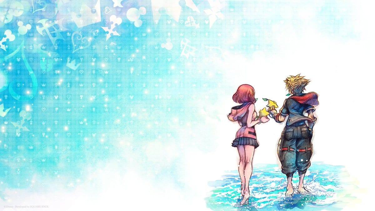Kingdom Hearts : Melody of Memory - kairi et Sora sur l'écran de lancement du jeu