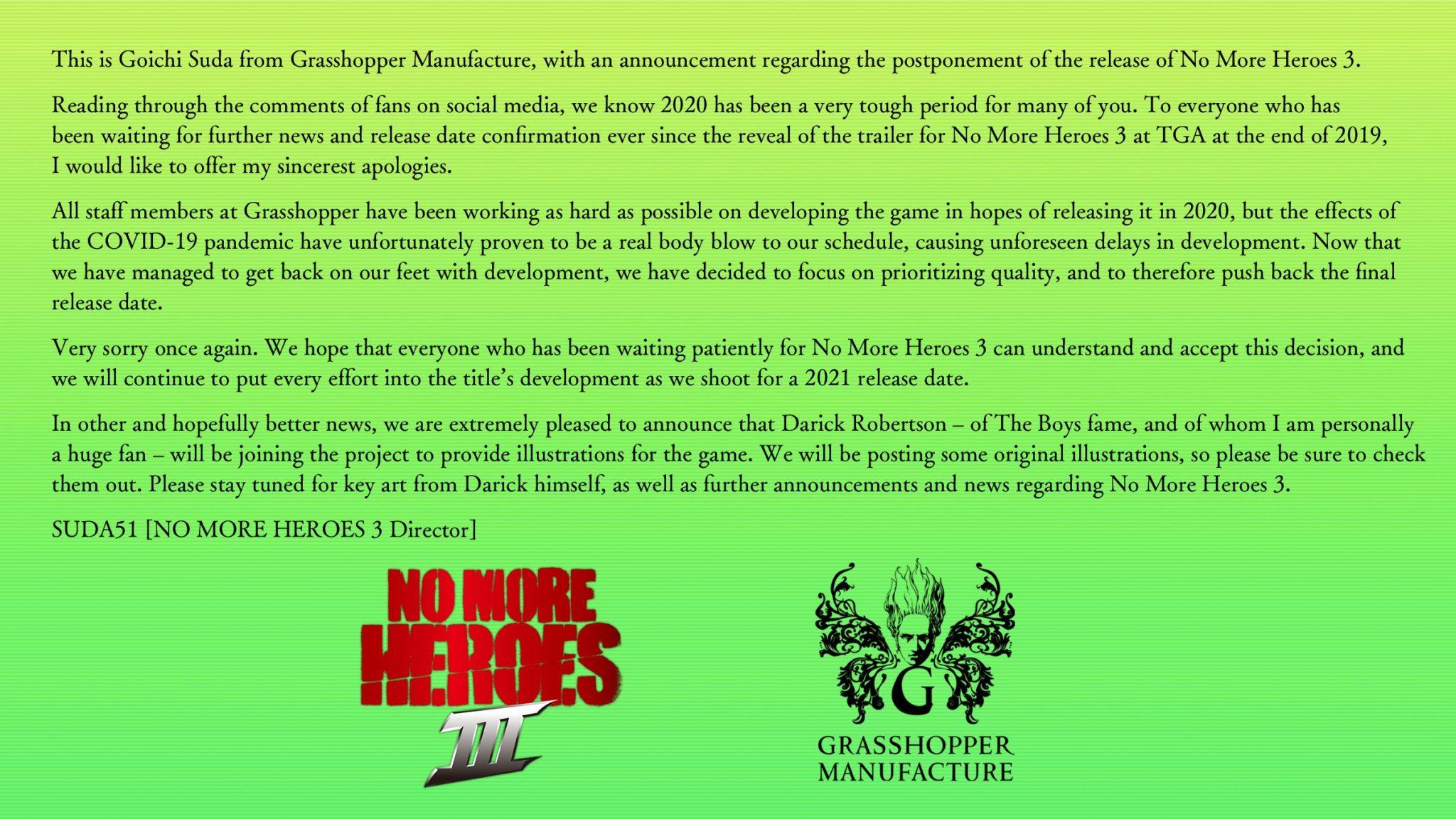 No More Heroes 3 - Delay Notice