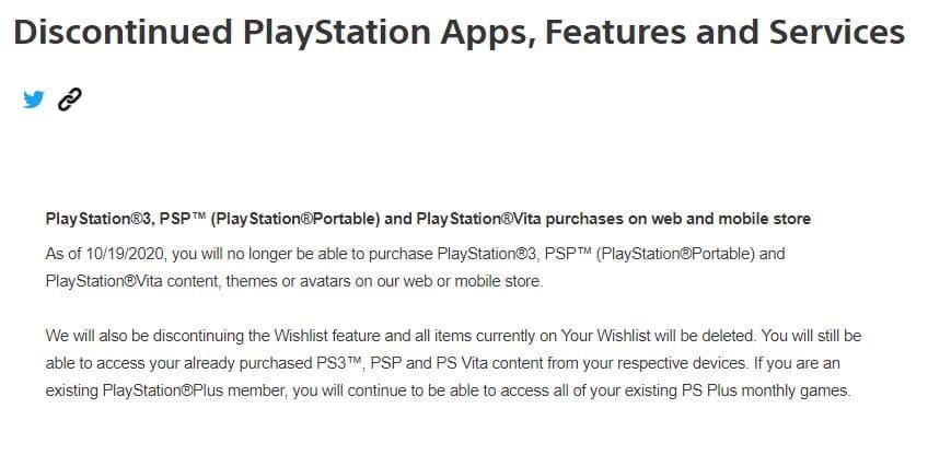 PS Vita annonce store
