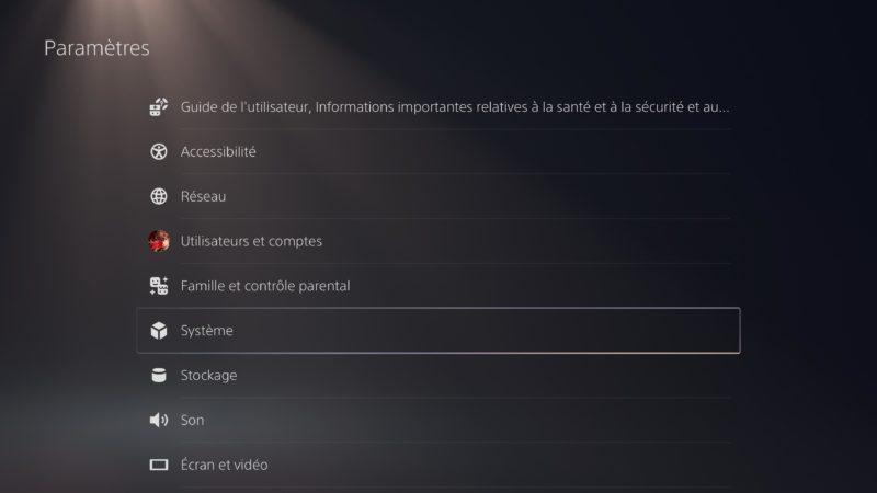 PS5 - menu paramètre