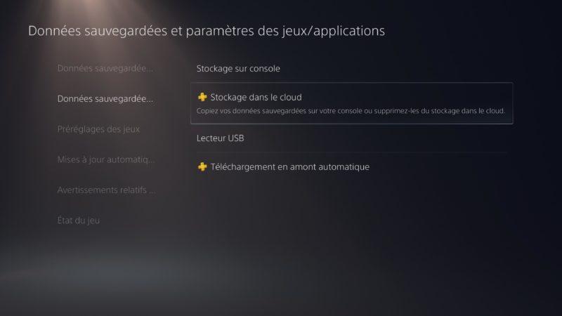 PS5 - stockage dans le cloud