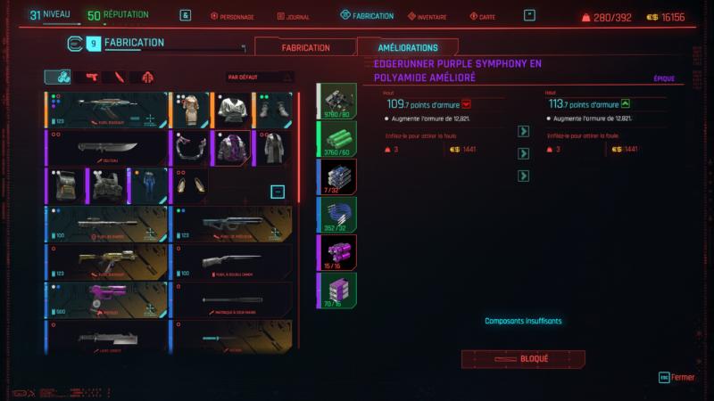 cyberpunk 2077 amélioration équipement