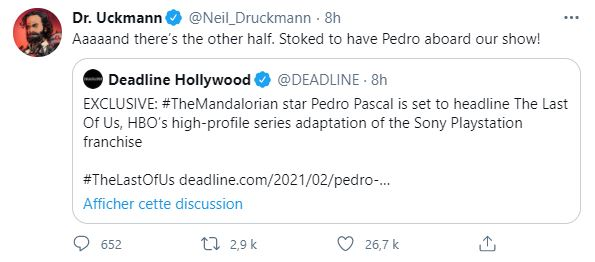tweet Druckman Pedro Pascal Last of Us