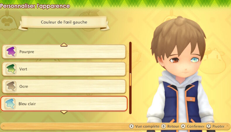 Story of Seasons: Pioneers of Olive Town création personnage