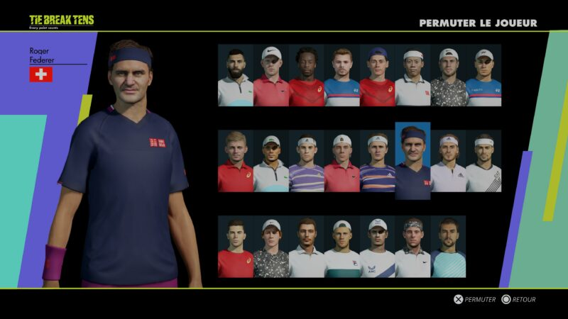 Test Tennis World Tour 2 PS5 - joueurs masculins