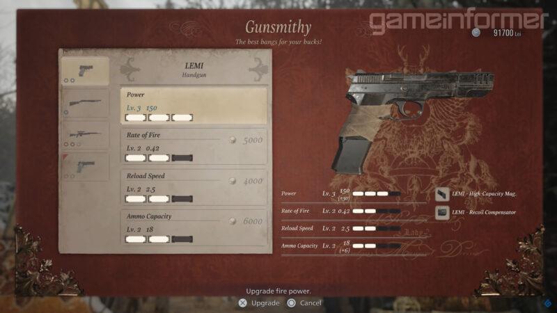 resident evil village amélioration pistolet