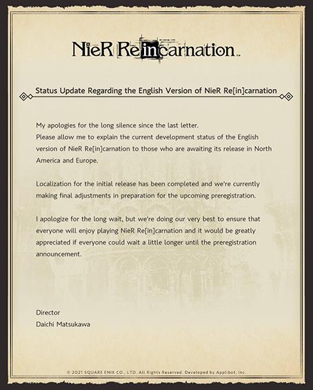 Nier Reincarnation lettre Twitter