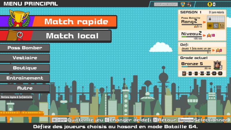 Super Bomberman R online menu