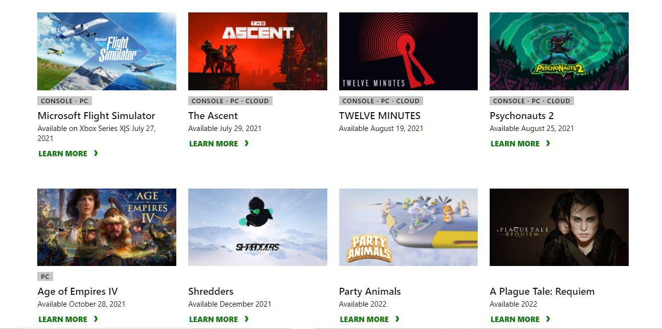 Annonces E3 2021 Microsoft Xbox