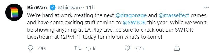 Tweet bioware EA Play Live Mass effect