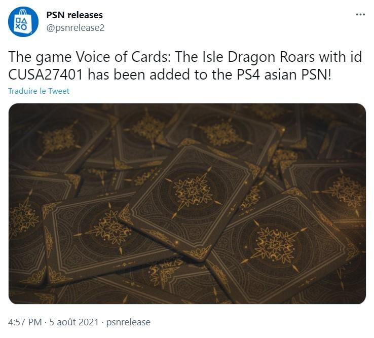 Voice of Cards nouveau Yoko Taro