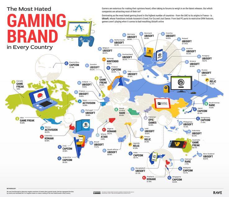 Ubisoft arrive en tête dans 23 pays.